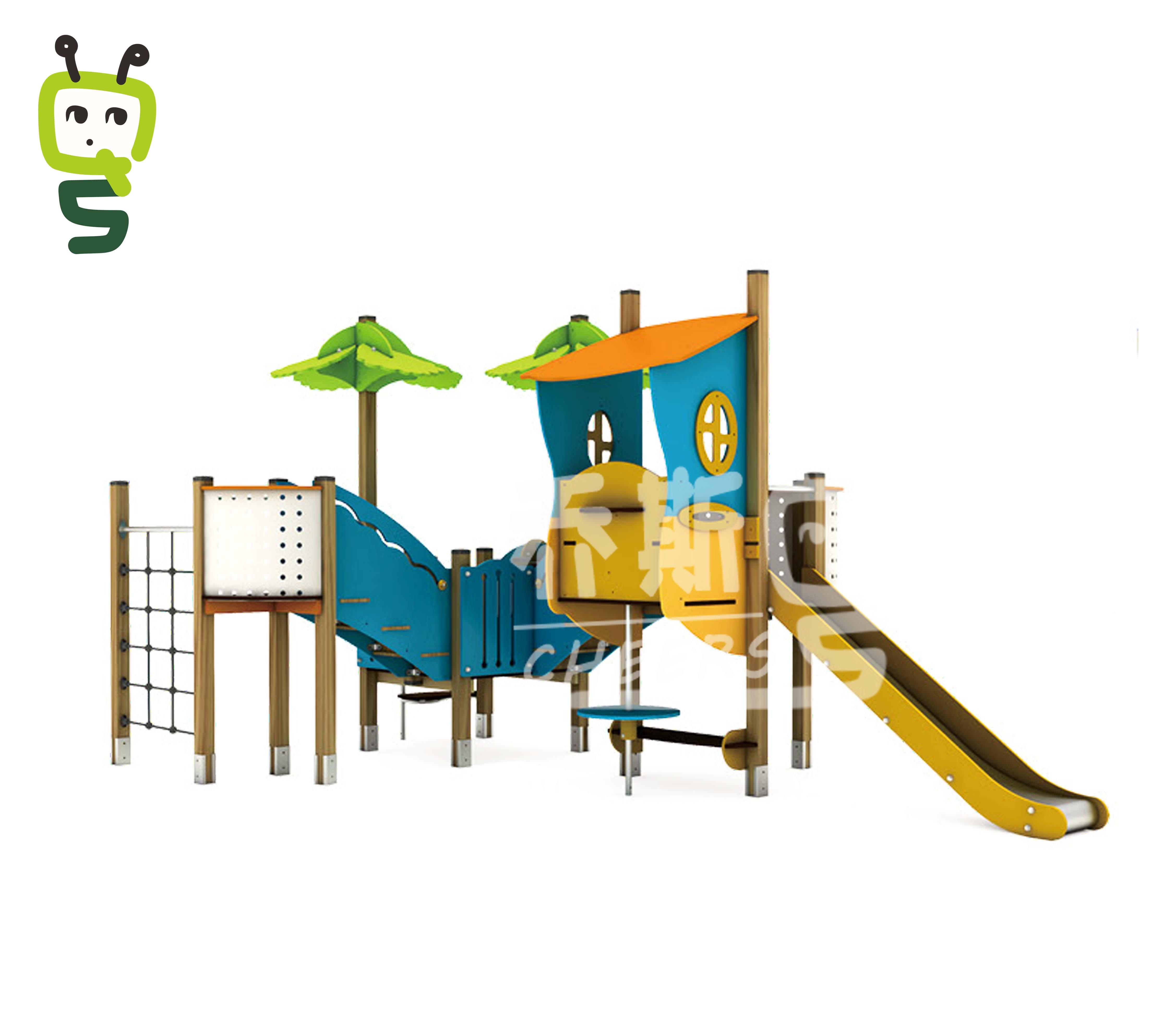 PE木质组合滑梯